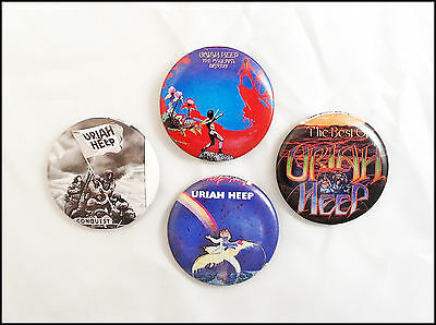 Uriah Heep Lot Of 4 80's Buttons Pins / The Magicians Birthday / Conquest