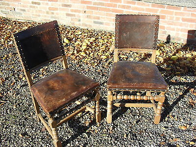 Antique Leather and Turned Oak Side Chair x 2 Pair Of Beautiful Character Patina