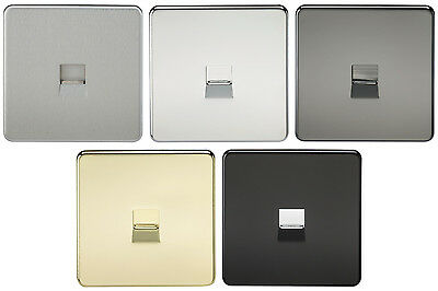Knightsbridge Screwless Telephone Master Wall Socket Flat Plate Single Flush