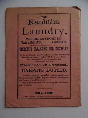 1887 Naphtha Laundry Brochure Worcester Massachusetts Antique Bed Bugs