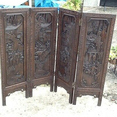 Antique  Chinese Hand Carved 4 Panel Screen