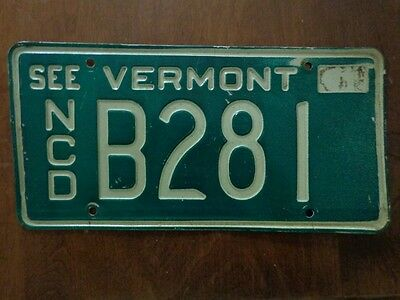 1970's Vermont License Plate NEW CAR DEALER NCD # B 281 Auto Tag