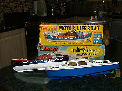 Tri-Ang Rnli Clockwork Model Motor Lifeboat & A Burnham Cruiser Boxed