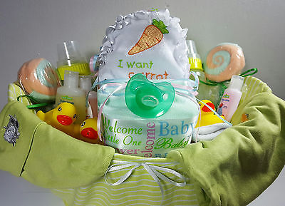 Baby Shower Party Gift Basket For Neutral - 35 items including Gerber Baby Items