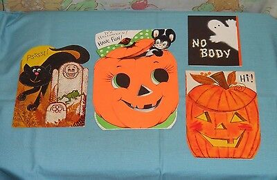vintage HALLOWEEN GREETING CARDS lot of 4 Hallmark Ambassador Gibson