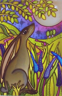 Brown Moon Gazing hare Original hand painted Stained Glass panels & splashbacks