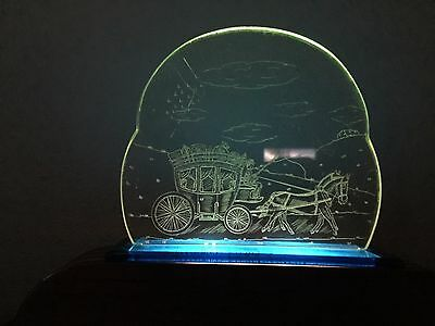 Vintage 1950's TV Lamp Etched Lucite Horse and Carriage Scene