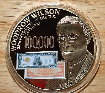 2014 Unc WOODROW WILSON AND THE FEDERAL RESERVE NOTE-$100,000 GOLD CERTIFICATES