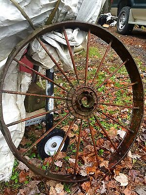 "Vintage Cast Iron Steel Garden Antique Tractor Wagon Wheel Large 36"" BEAUTIFUL"