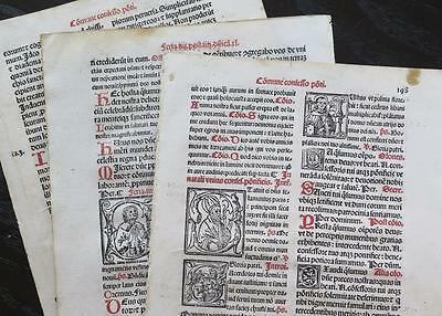 Incunabula Latin Vulgate Bible 3 Leaf Lot w/ Illistrations