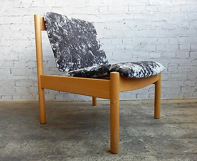 Vintage Retro Danish Style Beech Wood Ercol Lounge Chair - Newly Re-upholstered