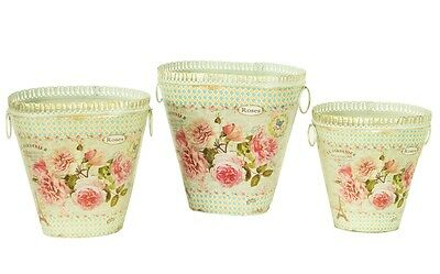 French country planters vintage painted metal decorative vases & flower pots