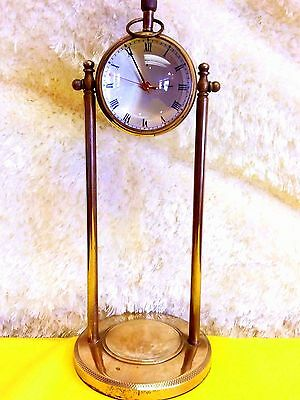 Gorgeous Antique Brass Table Clock Magnifying Dome Shaped Glass With 17 Jewel