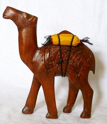 """Vintage Beautifully  Hand Carved Wood Camel Figurine 8 1/2 """"H x 7"""" L x 2.5"""" Wide"""