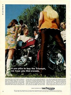 1969 Print Ad TRIUMPH Motorcycle ~ We Hope You Like Crowds Pretty Girls