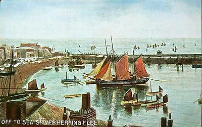 Postcard:st Ives Herring Fleet Off To Sea..early Card.publisher:hildesheimer