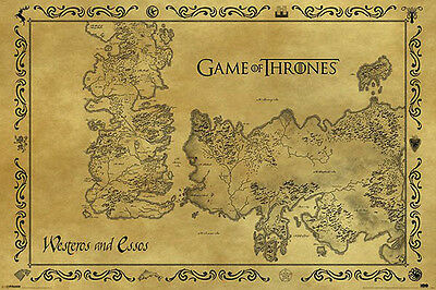 NEW Game of Thrones Wall Poster - Antique Map of Westeros  61 x 91cm
