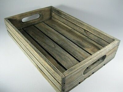 """Vintage Style Shabby Chic Serving Trays Wooden Antique Teak Wood  9 x 13.5"""""""