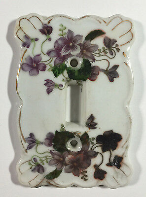 VTG Porcelain Light Switch Plate Cover w/ Purple Violets  & Green Foliage Floral