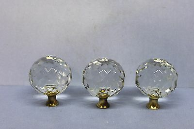 Lot of 3 Multi Faceted Spherical Ball Glass Drawer Cabinet Door Knobs - Brass