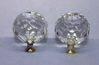 Lot of 2 Multi Faceted Spherical Ball Glass Drawer Cabinet Door Knobs w/ Screws