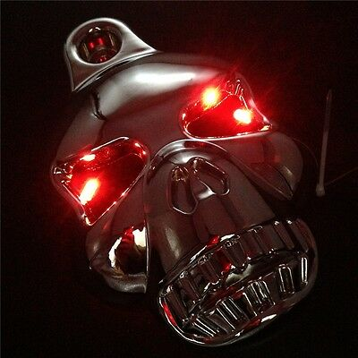 XH Harley Big Twins V-Rods Stock Cowbell 1992-2013 CHROME LED Skull Horn Cover