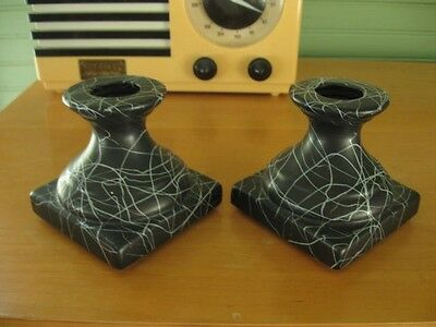 Pair Vintage 1950s/1960s American Bisque Pottery Retro Candle Holders Sticks