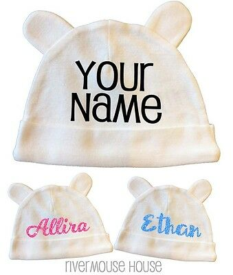 Baby Hat PERSONALISED NAME Little Ears Beanie Custom Glitter Newborn Clothing