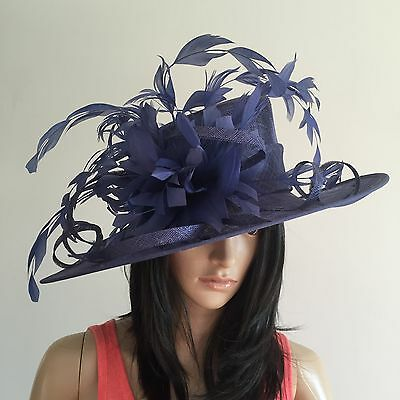 Nigel Rayment Navy Occasion Wedding Hat Mother Of The Bride Feathers