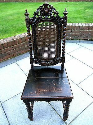 *barley Twist* *cane Backed* Wooden Chair *solid Piece* *will Need Some Work*