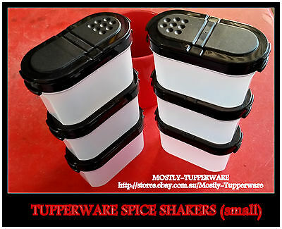 BNIP Tupperware SMALL Spice Set (6) Black 1/2 Cup Capacity