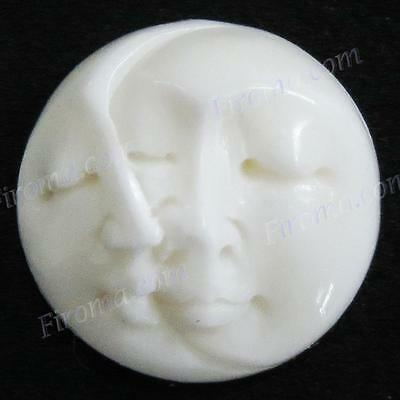 "5/8"" 15MM CLOSED EYES MOON SUN FACE BISON BONE CAB BEAD cabochon"
