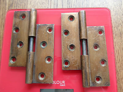 Pair of Old Vintage Heavy duty ? Bronze / Brass Drop Hinges -4 inches.-