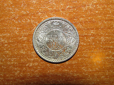 British India 1917 silver 1/4 Rupee coin UNC Uncirculated nice