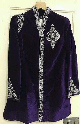 Velvet  Wed/party/occasion Sherwani diamonte and silver zardosi embroidery 40