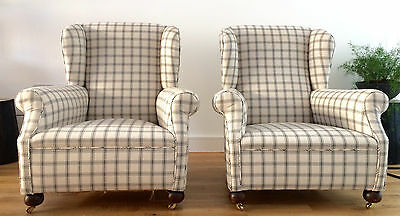 Pair 1930's Wingback Armchairs English