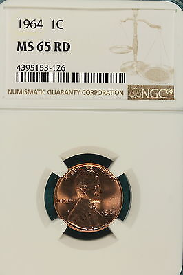 1964-P NGC MS65 RED Lincoln Memorial Cent!! #A5531