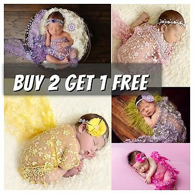 Lace Tassle Sheer Floral Triangle Baby Newborn Wraps Photography Prop