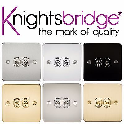Knightsbridge Flat Plate 10A 10 Amp 2G 2 Gang 2 Way Toggle Light Lamp Switch