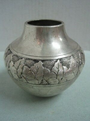 Antique small jar vase in boar silver written Lisbon Portugal art decó