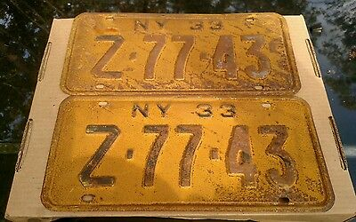 Pair antique 1933  us car  license plate New York NY