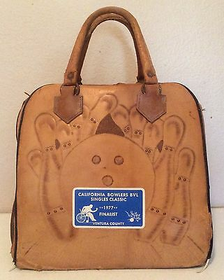 VTG Hand Tooled Leather Bowling Bag Purse Tote Handbag Carrying Case