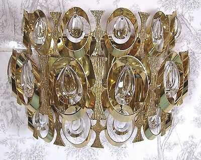 PALWA Germany Wall Sconce: Large Mid Century Gilt Crystal Design 1960's Fixture