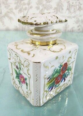 Antique Scent Bottle: French 19thC Old Paris Porcelain Hand Painted Perfume