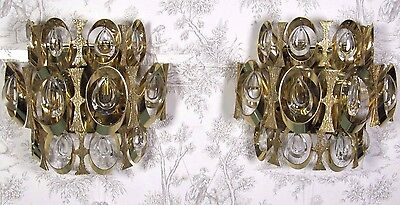 PALWA Germany Wall Sconce: Pair Mid Century Gilt Crystal Design 1960's Fixture