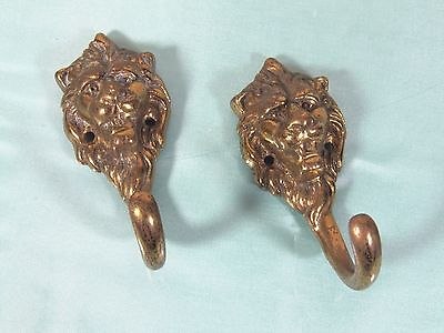 French Wall Hook: Lion's Head Architectural Bronze Brass Hat Hall Tree Antique
