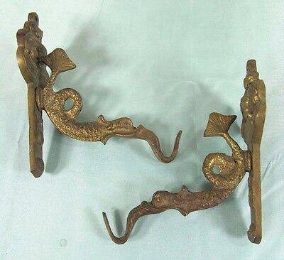 Brass Wall Hook: Antique VTG Bronze Dragon Serpent Oil Lamp Plant Hanger #2