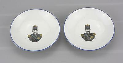 Antique Russian Porcelain Two Small Portrait Plates by Kuznesov Factory C 1900