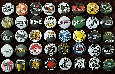 Collection Of 40 x 90's Indie, Rock And Grunge Button Badges. Job lot. Bargain.
