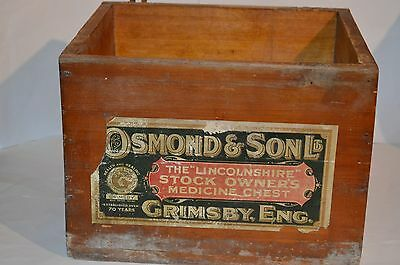 Antique Osmond & Sons Grimsby Lincolnshire Stock Owners Medicine Chest Box